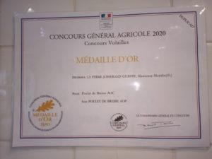 Médaille d'or Salon de l'agriculture 2020